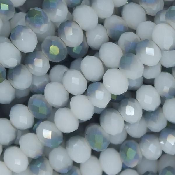 Rondelle in Cristallo Sfaccettato 6x4mm WHITE SILVER