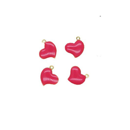 Charms Fuchsia Heart 12x12 mm - 4 pieces