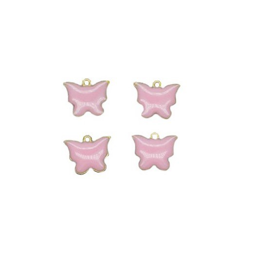 Charms Pink Butterfly 12x10 mm - 4 pieces