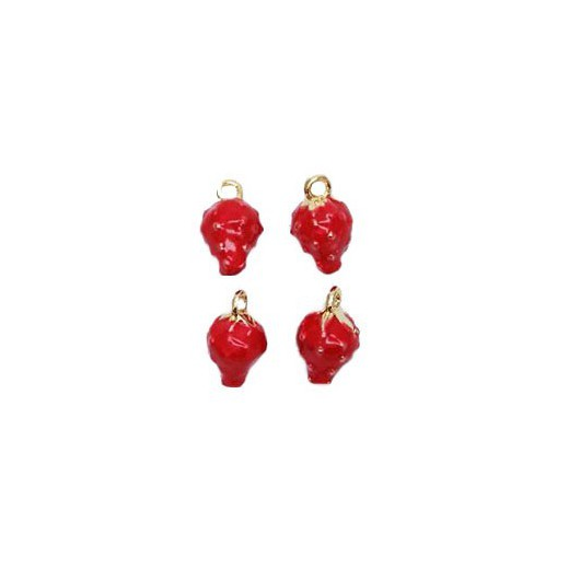 Charms 3D Strawberry  12x10 mm - 4 pieces