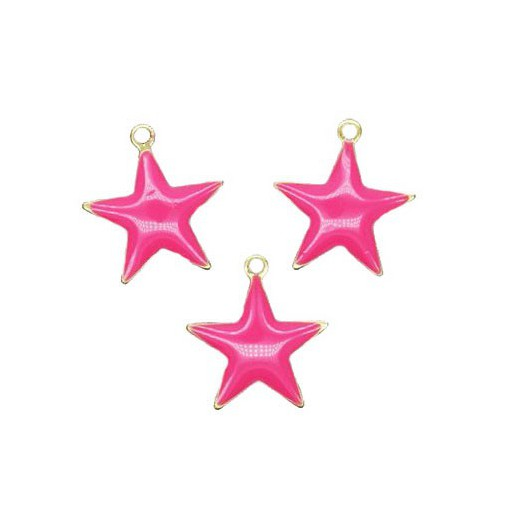 Charms Fuchsia Star 17x18 mm - 3 pieces