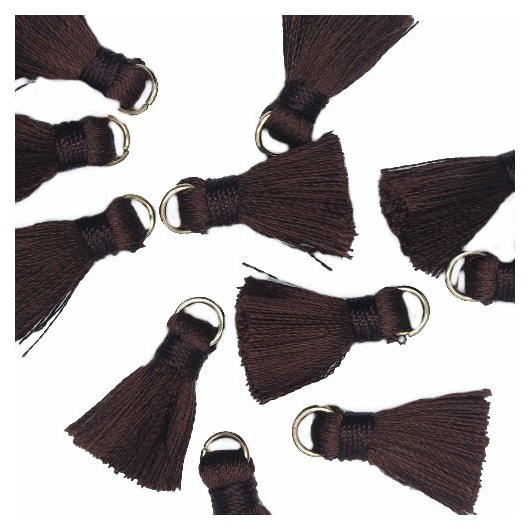 Mini Tassel with ring 18mm Brown