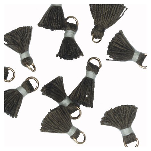 Mini Tassel with ring 10mm Black and Grey