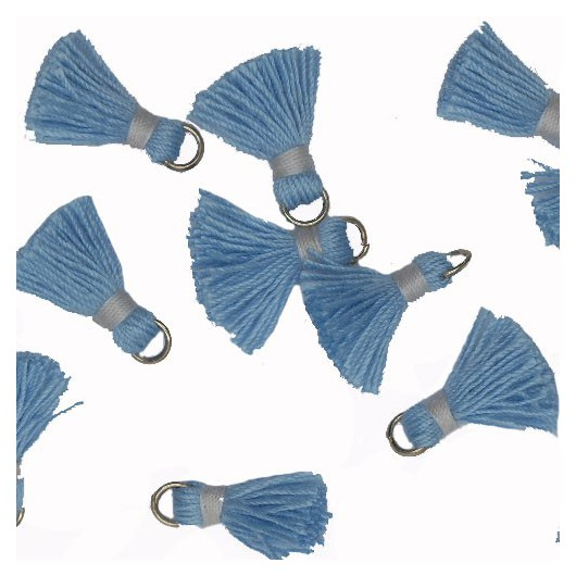 Mini Tassel with ring 18mm Light Blue