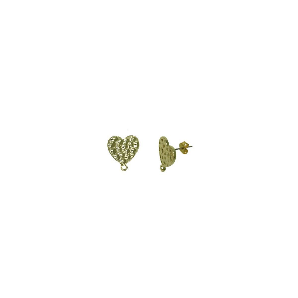 Orecchini in ottone a cuore martellato colore oro 15mm