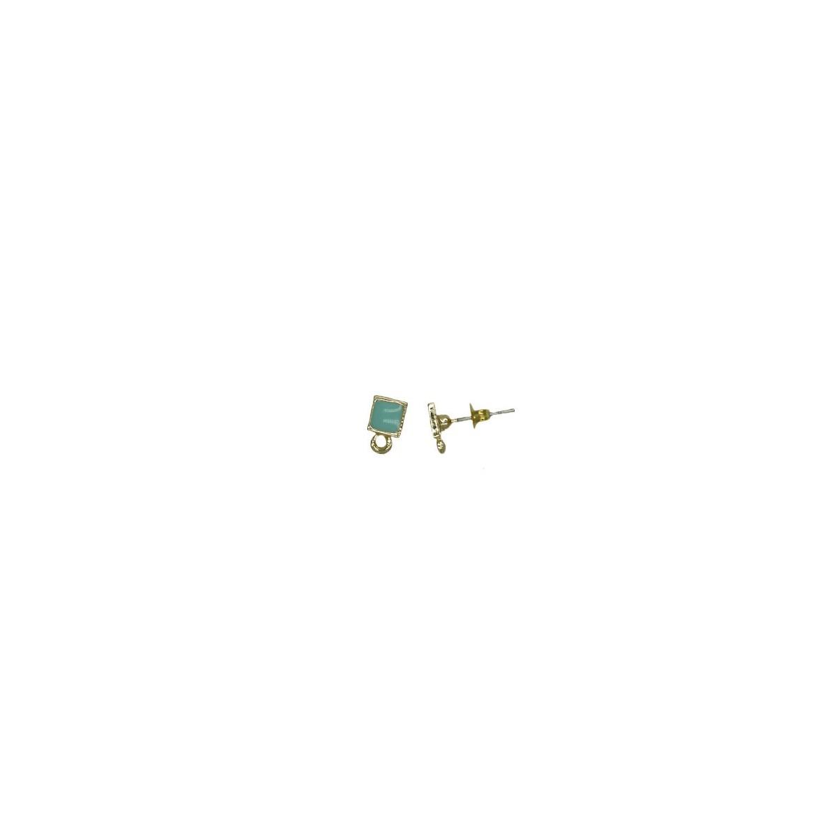 Orecchini in ottone quadrati smaltati turchese - 5x5 mm