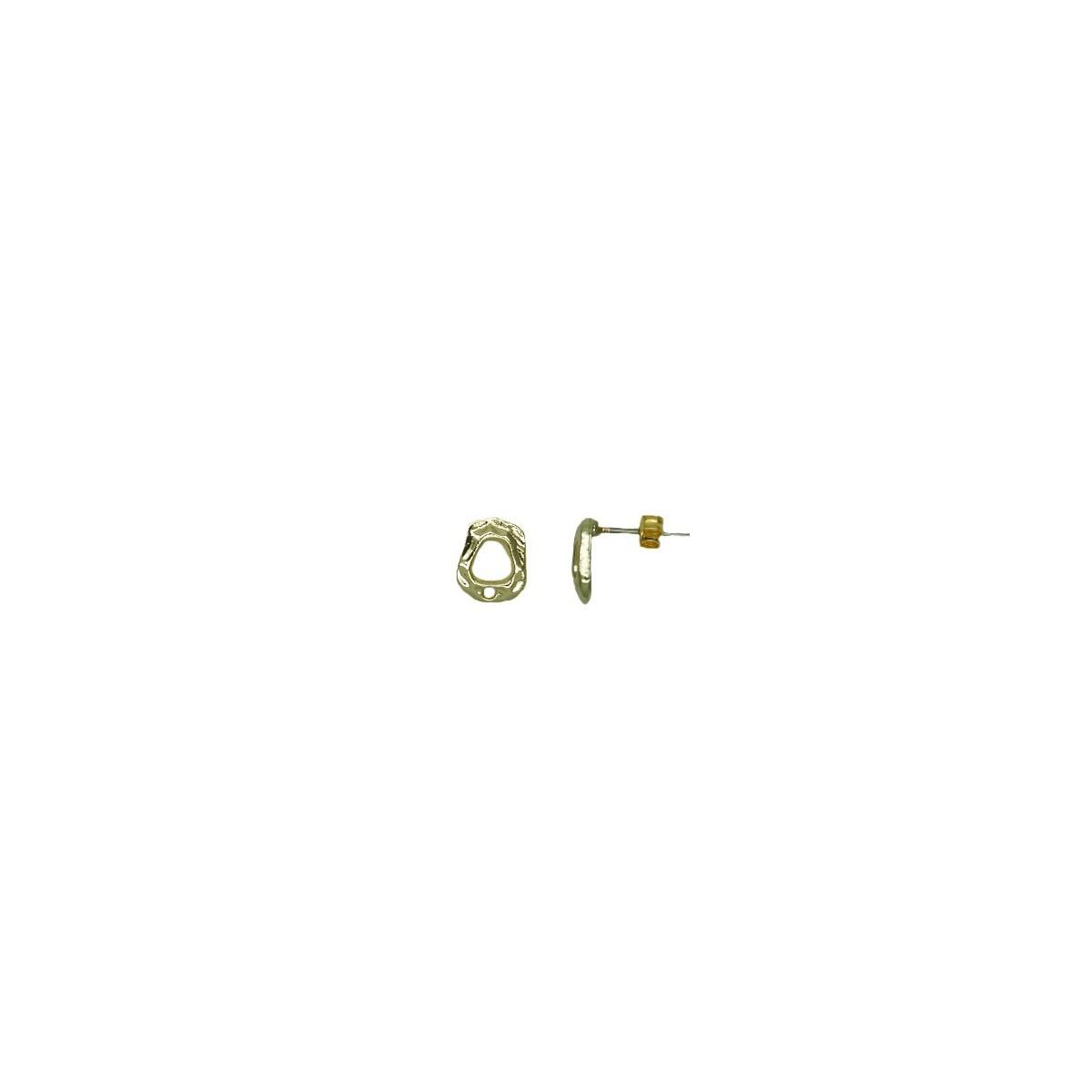 Orecchini in ottone rettangolari irregolari - 10x12 mm