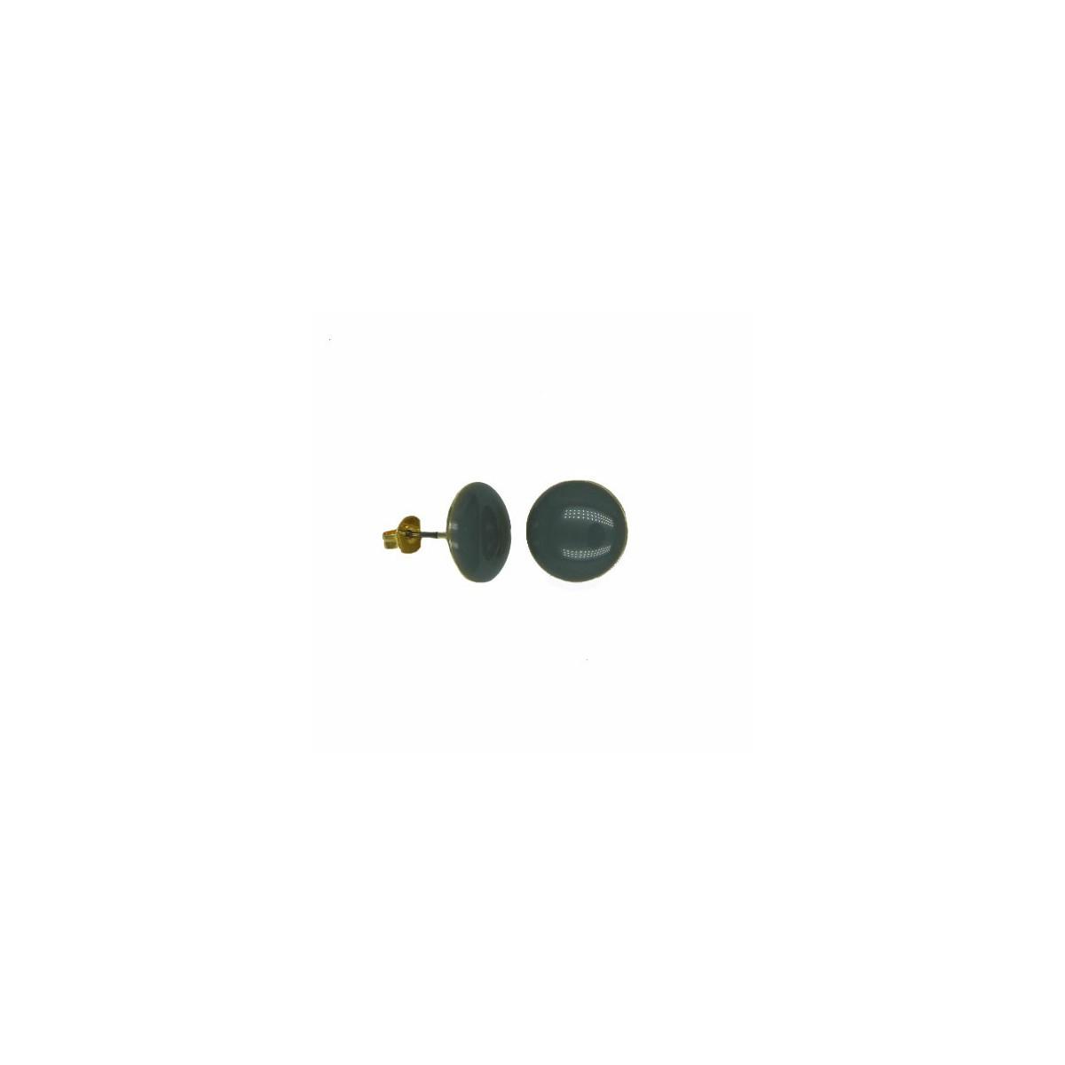 Orecchini in Ottone Tondo Smaltato Grigio - 12  mm