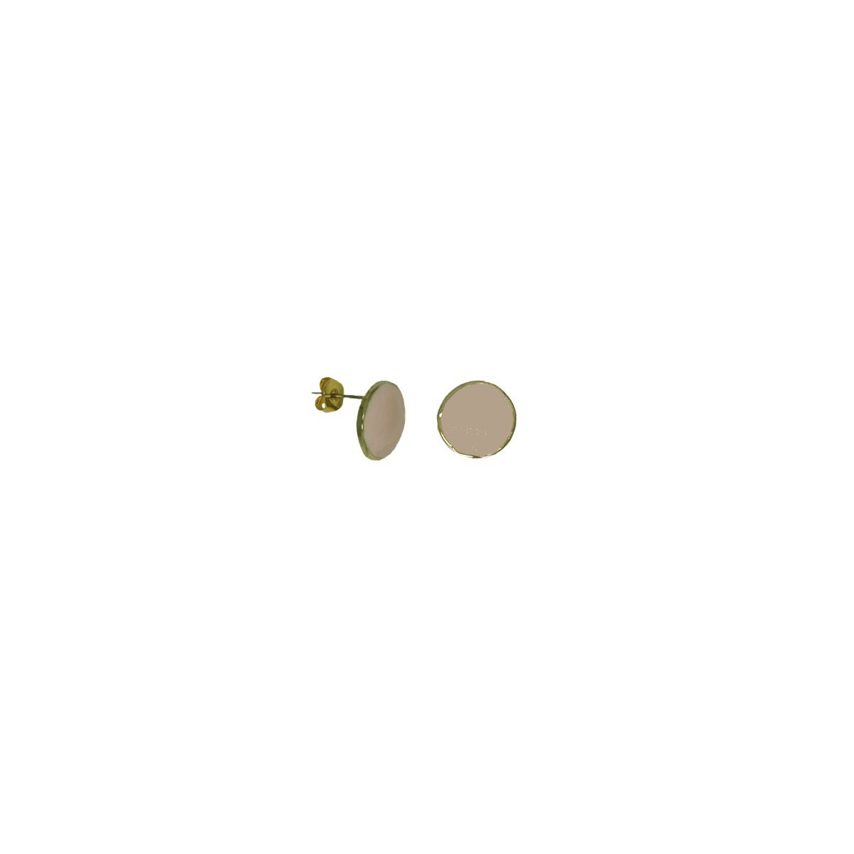 Orecchini in Ottone Tondo Smaltato Rosa Cipria - 12 mm