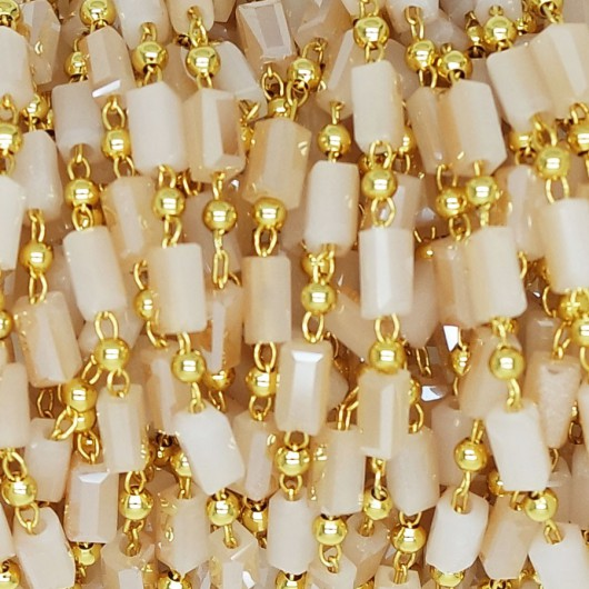 Catena a Rosario con Baguette Opaque Gold 5x3 mm