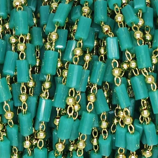 Rosary Chain with Baguette color Teal 5x3 mm