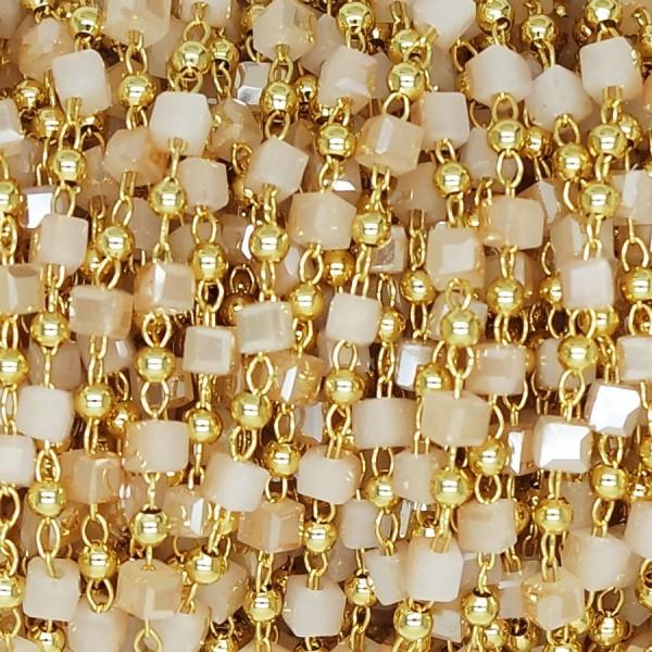 Catena a Rosario con Cubetto Opaque Gold 2x2 mm