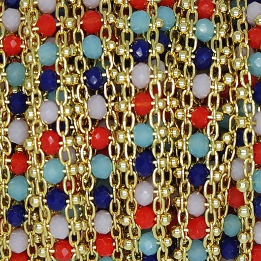 Catena Piatta con cristalli multicolor 3x2 mm