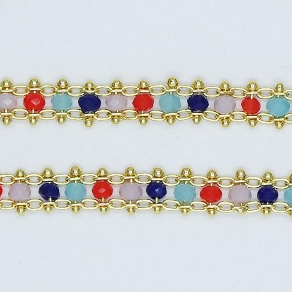 Catena Piatta con cristalli multicolor 3x2 mm