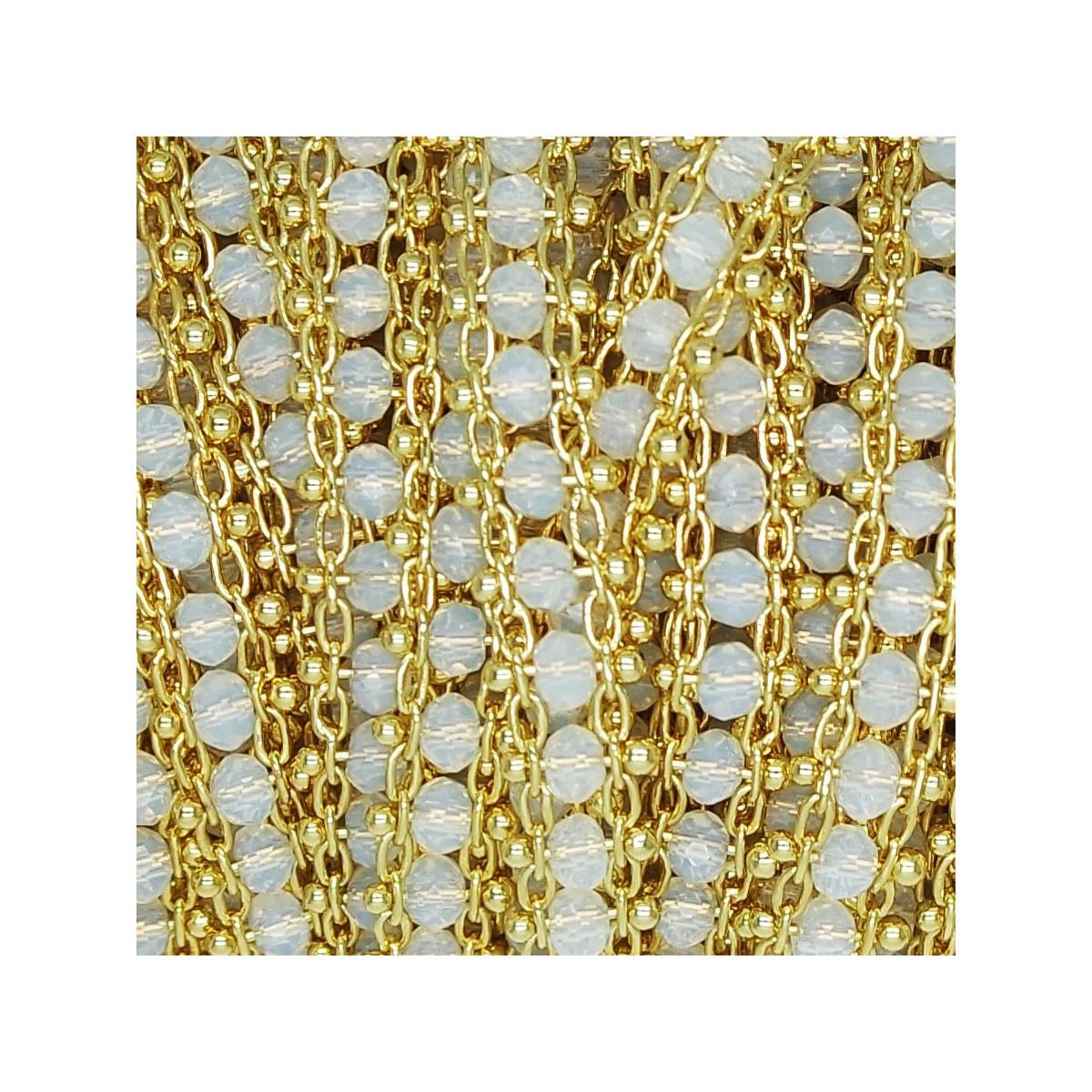 Catena Piatta con cristalli White Opal 3x2 mm