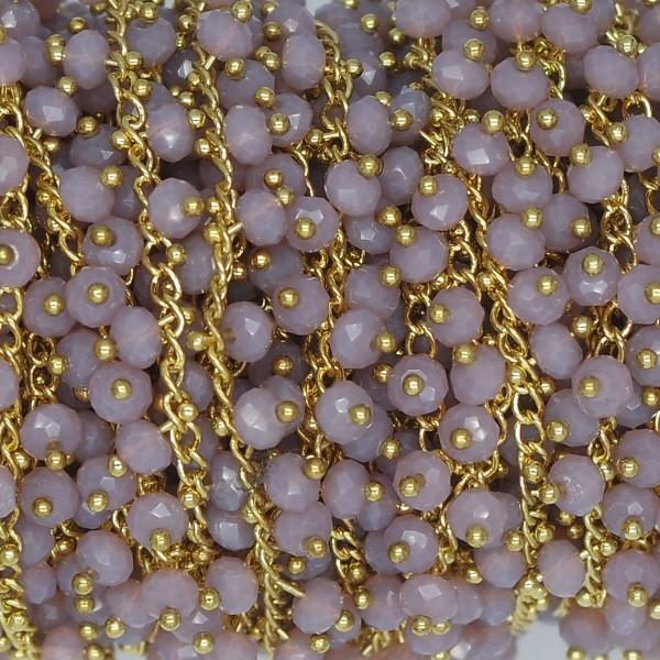 Catena con Cristalli Pendenti Violet Opal 6 mm