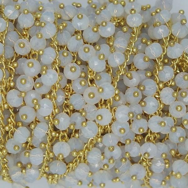 Catena con Cristalli Pendenti White Opal 6 mm