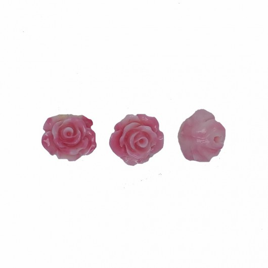 PINK RESIN ROSE - 3 pieces