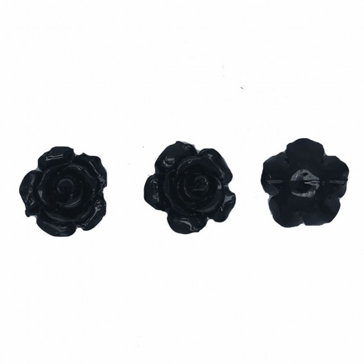 BLACK RESIN ROSE - 3 pieces