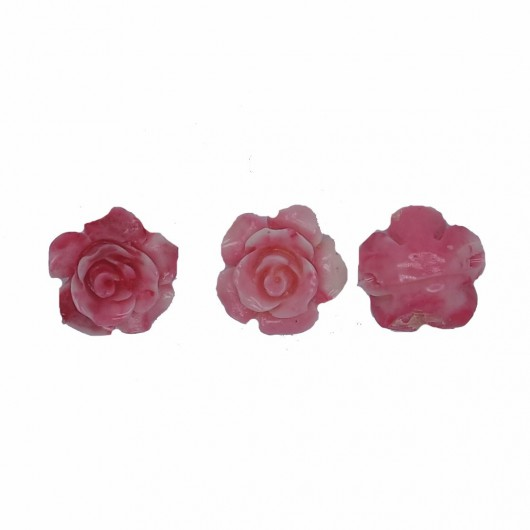 PINK CORAL RESIN ROSE - 3 pieces