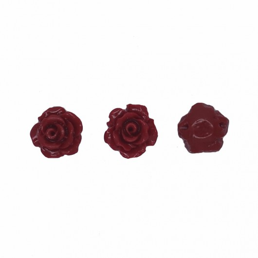 RED RESIN ROSE - 3 pieces