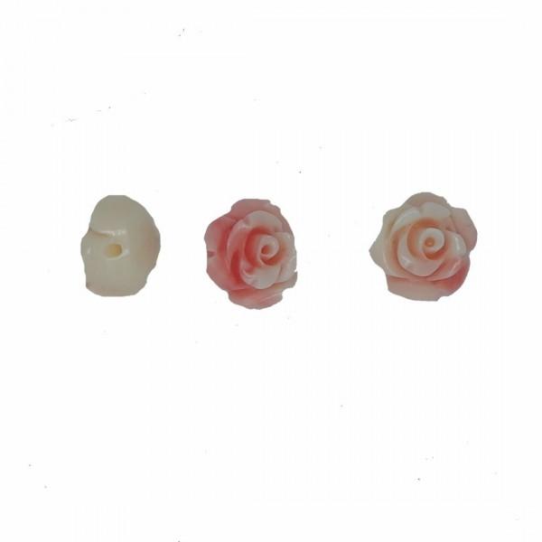 ROSELLINA IN RESINA CON FORO PASSANTE - 3 pezzi