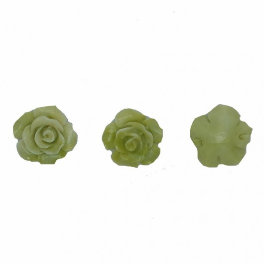 GREEN RESIN ROSE - 3 pieces