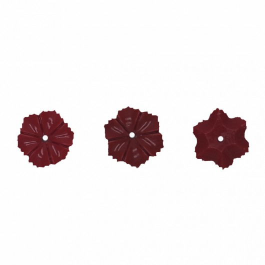 RED RESIN ROSE-CENTRAL HOLE - 3 pieces
