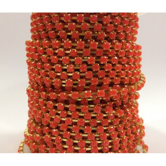 Catena con Strass in Resina 4mm Arancio Fluo