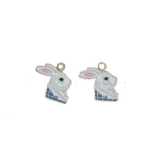 Charms White Rabbit 18 mm - 2 pieces