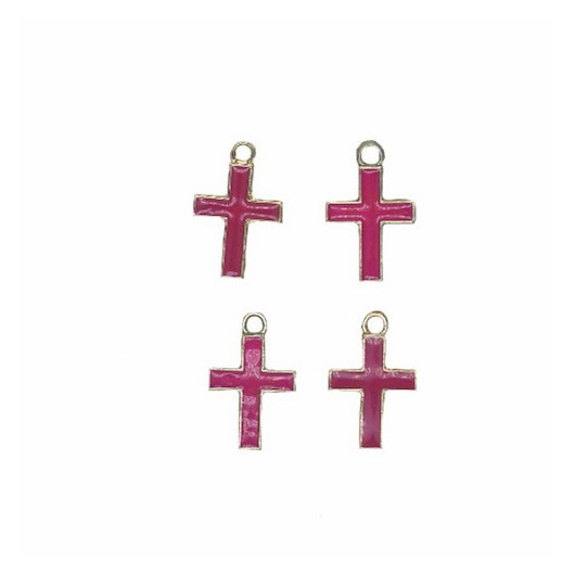 Charms Fuchsia Cross 12 mm - 4 pieces