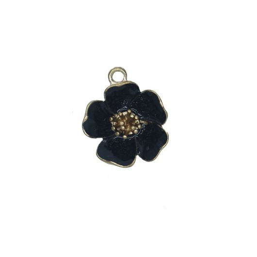 Charms Black Flower 25 mm - 1 pieces