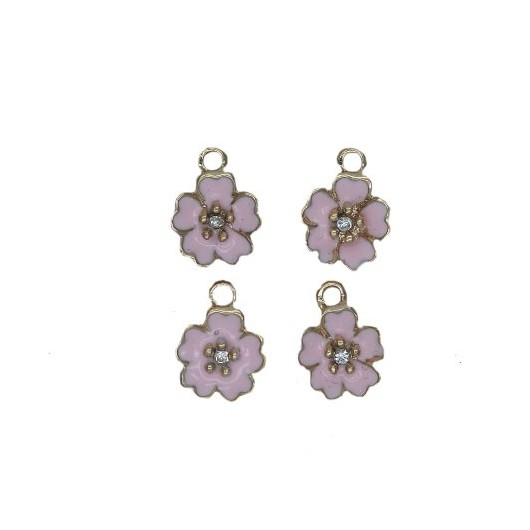 Charms Pink Flower 12 mm - 4 pieces