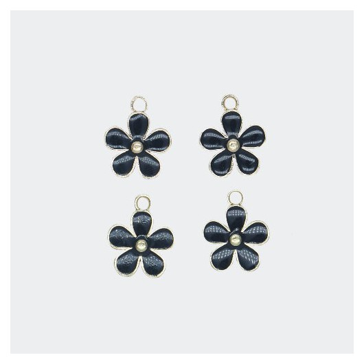 Charms Black Flower 12 mm - 4 pieces