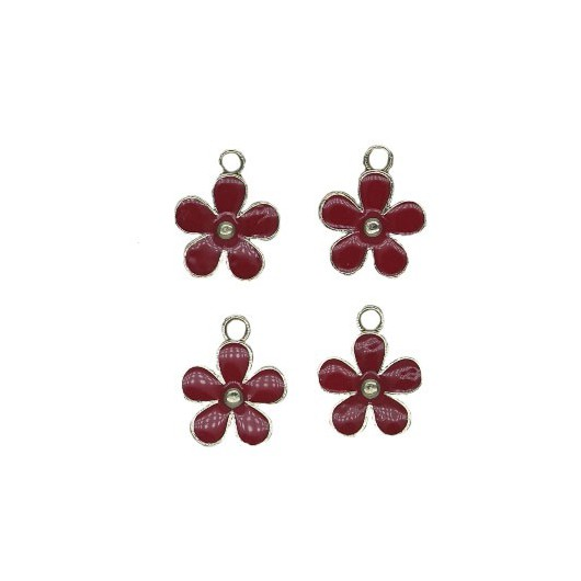 Charms Red Flower 12 mm - 4 pieces