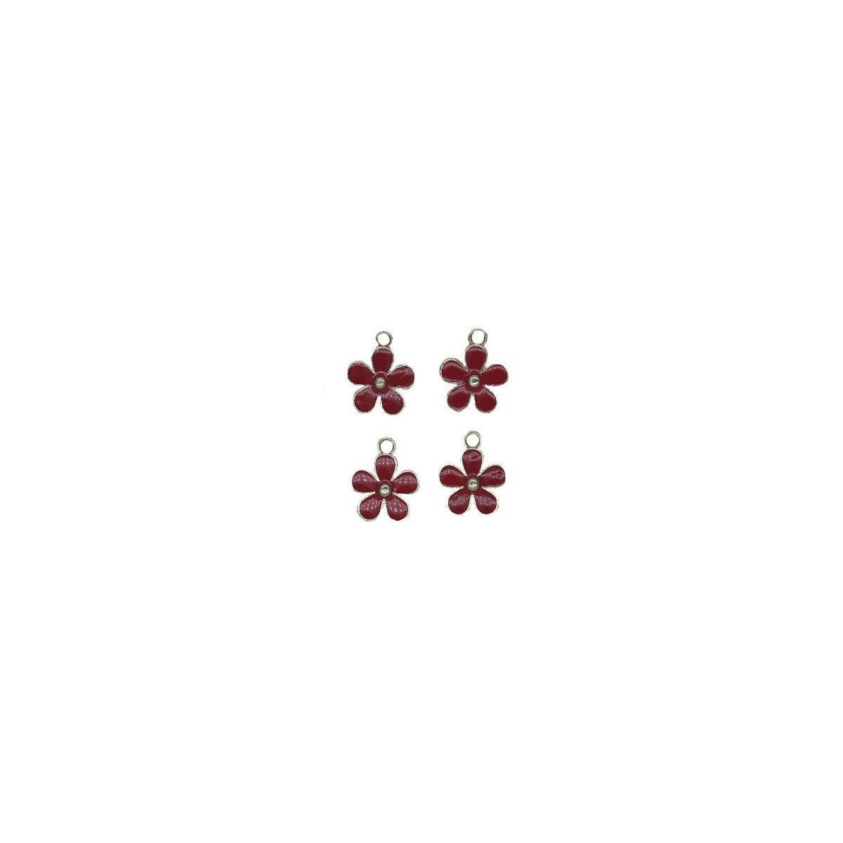 Charms Fiore Rosso 12 mm - 4 pezzi