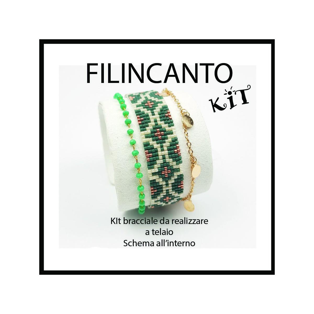 """Kit + Tutorial for Loom Bracialet """" Rhombus"""" Teal"""