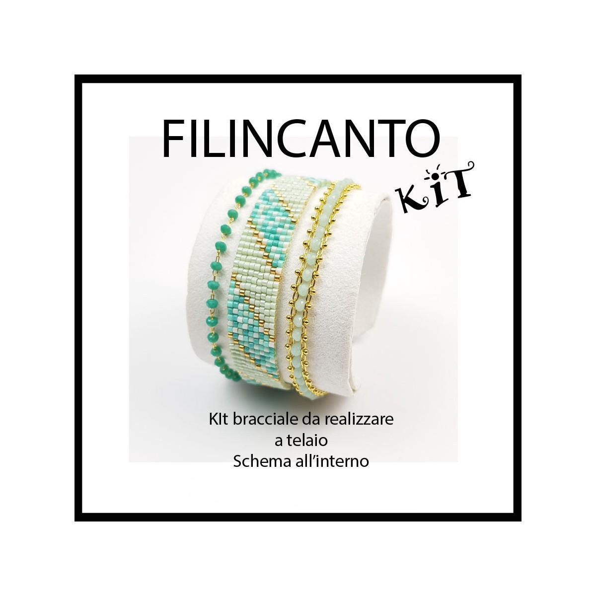 """Kit + schema BRACCIALE A TELAIO """"ACQUA"""""""