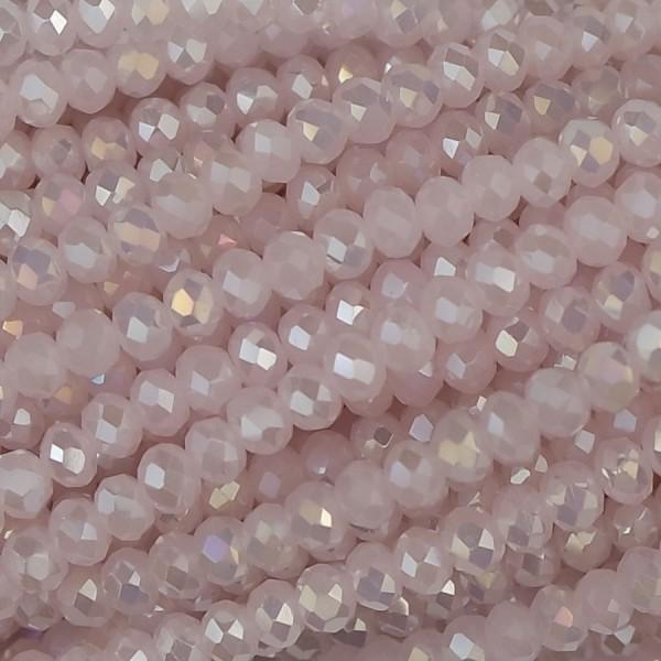 Rondelle in Cristallo Sfaccettato 3x2,5mm light rose ab