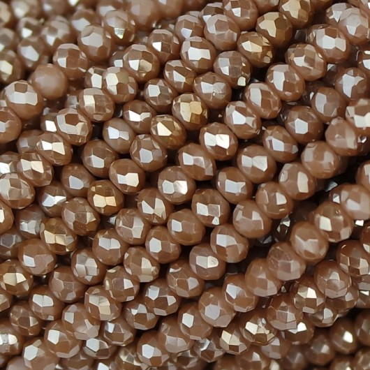 Fire Polished faceted flat round 3x2,5mm caramel