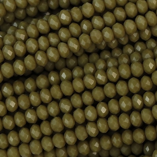 Rondelle in Cristallo Sfaccettato 3x2,5mm olive