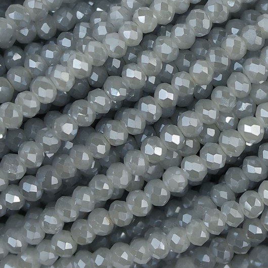 Fire Polished faceted flat round 3x2,5mm pearl