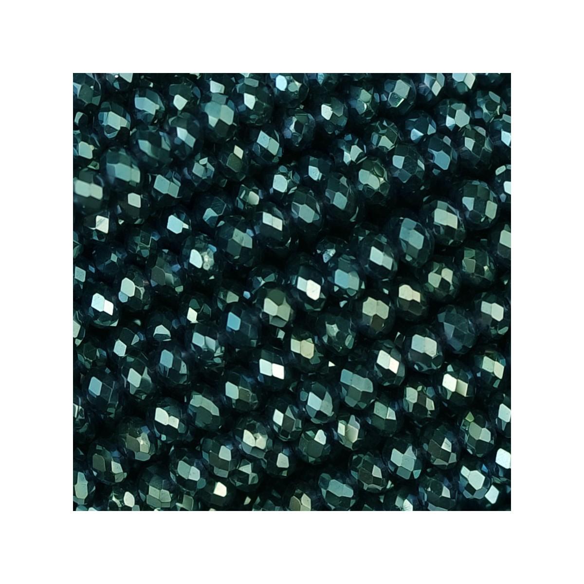 Rondelle in Cristallo Sfaccettato 3x2,5mm petrol