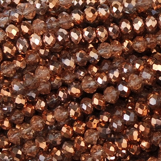Fire Polished faceted flat round 3x2,5mm rose gold