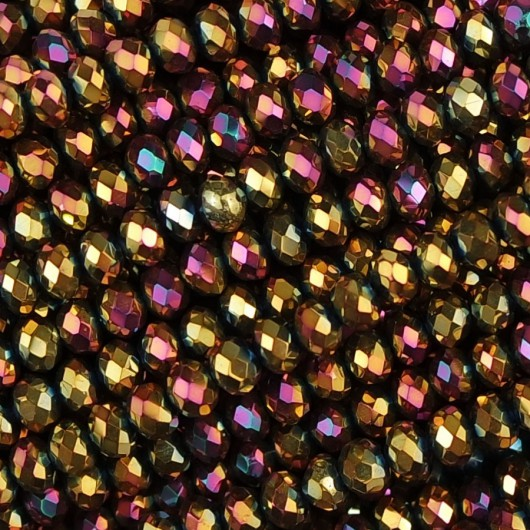 Fire Polished faceted flat round 3x2,5mm vanilla sky