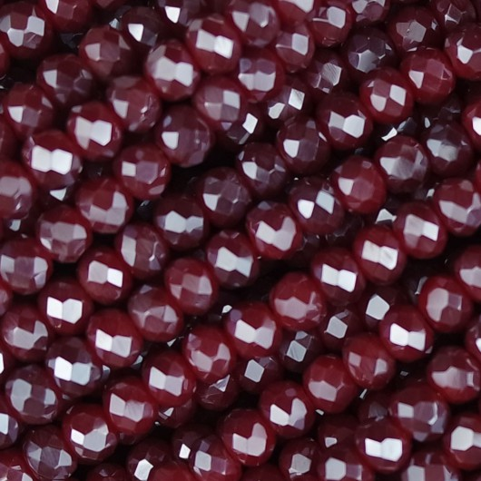 Rondelle in Cristallo Sfaccettato 4x3mm bordeaux metal