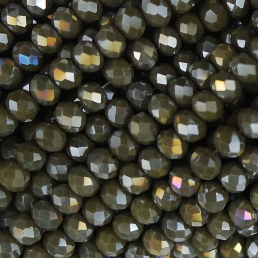Fire Polished faceted flat round 4x3mm dark olive opal