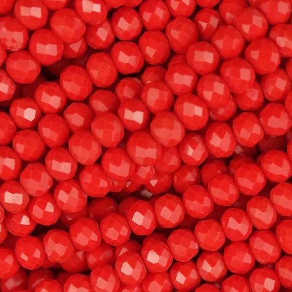 Rondelle in Cristallo Sfaccettato 4x3mm fragola