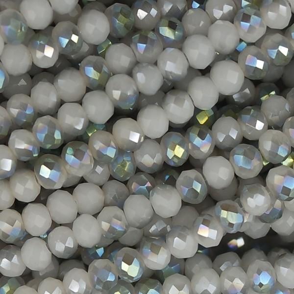 Rondelle in Cristallo Sfaccettato 4x3mm half silver