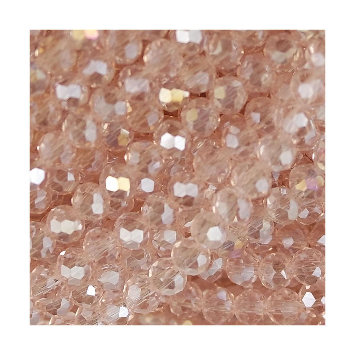 Rondelle in Cristallo Sfaccettato 4x3mm light rose ab